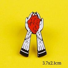 Punk Style broszka emalia Pin czaszka serce ręcznie metalowe odznaki na ubrania ikona przypinka torba ze znaczkami prezenty broszki pasek na ubrania
