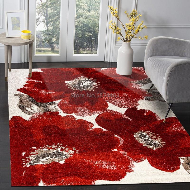 200*300cm New Chinese Classical Big Red Ink Big Flower Bedroom Living Room Door Mat Non-slip Bedside Mat