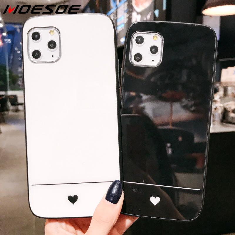 Funda de cristal Simple a la moda para iPhone 11 Pro XR X XS Max 7 8 6S 6 Plus lujosas Fundas protectoras para teléfono móvil