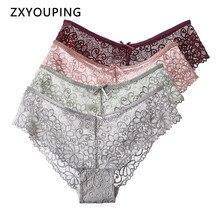 Flower Sexy Lace Panties For Women Underwear Hollow Breathable Briefs Low-Rise Lingerie Panties Female M-2XL Plus Size 4 pieces