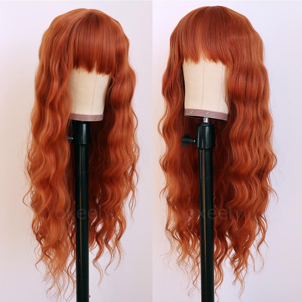 Oxeely-شعر مستعار صناعي مع هامش ، شعر طويل مموج ، مقاوم للحرارة ، للنساء