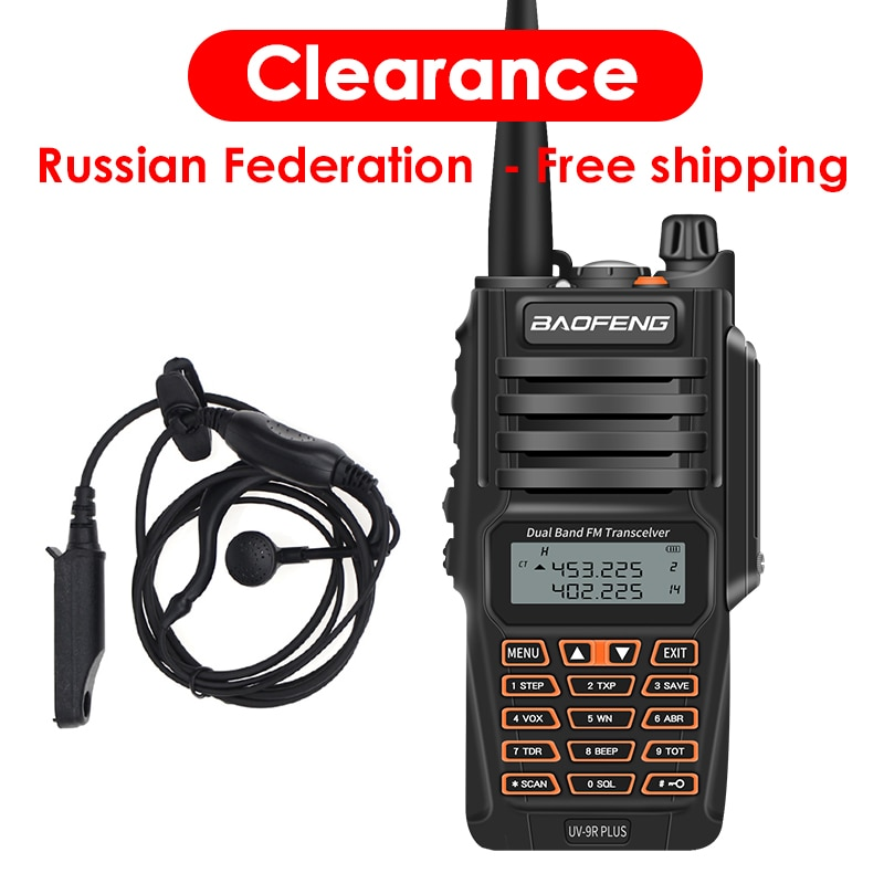 Mais novo baofeng UV-9R plus walkie talkie à prova d8 água 8 w uhf vhf banda dupla 136-174/400-520 mhz presunto cb rádio fm transceptor scanner