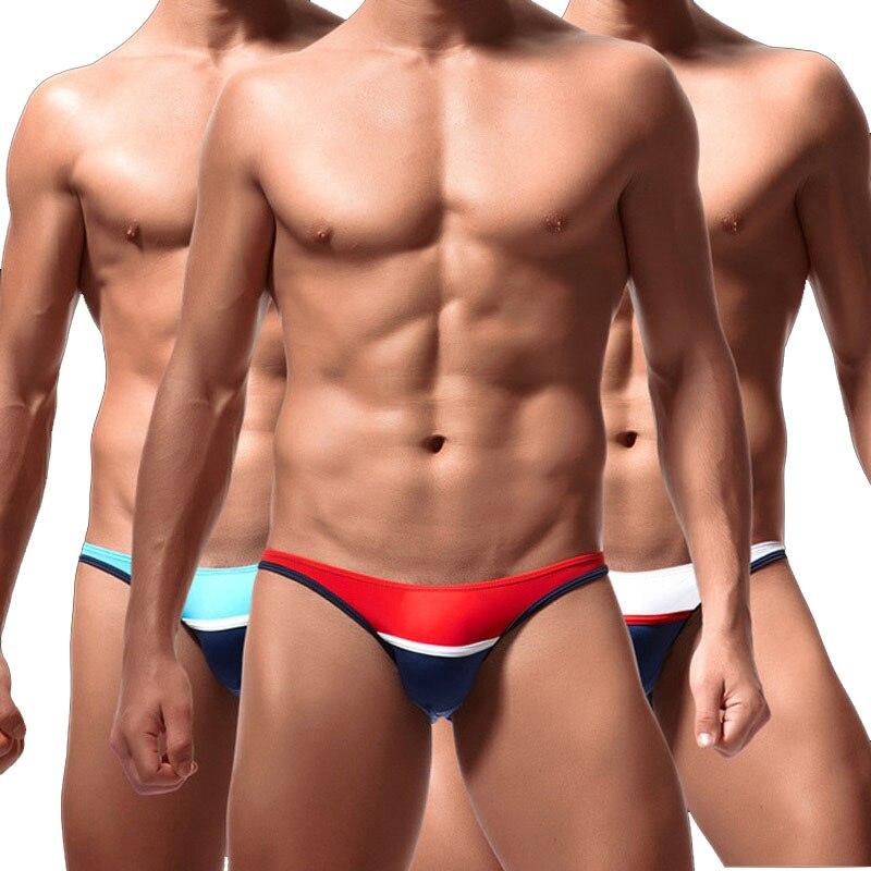 New Sexy Mens Underwear U Convex Thin Ice Silk Low Waist Patchwork Gay Bikini Pants Men Thongs And G Strings Male Panties