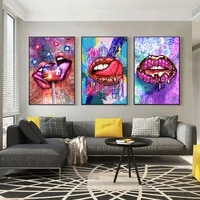 graffiti art sexy colourful lips picturs canvas paintings posters and prints cuadros modern wall art pictures for home decor
