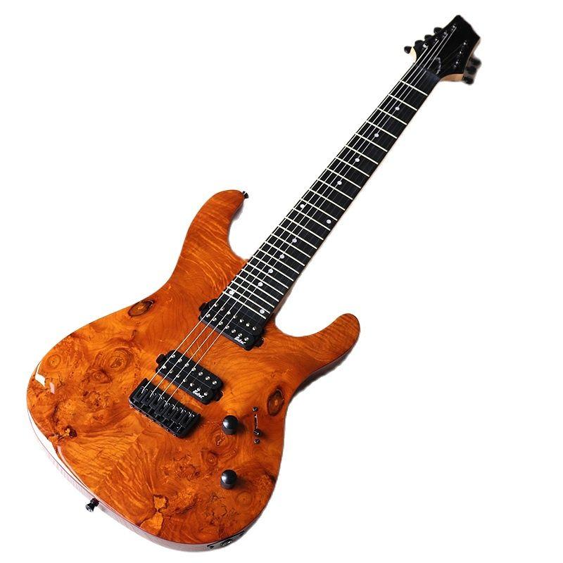 1 قطعة خشب القيقب كندا الرقبة شجرة burl كبار الخشب 7 سلسلة الغيتار الكهربائي 39 بوصة 24F عالي اللمعة آلة موسيقية مع عيب