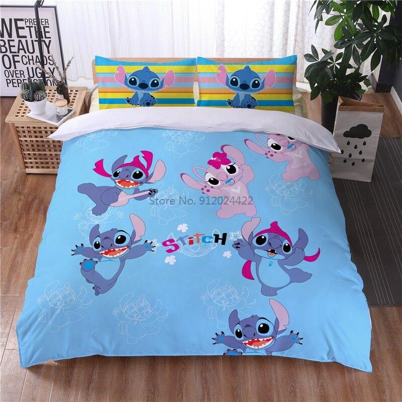 الأزرق غرزة لطيف شخصية ديزني العلامة التجارية طقم سرير الأطفال الكبار الكرتون حاف الغطاء المخدة واحدة مزدوجة الملكة الملك الحجم