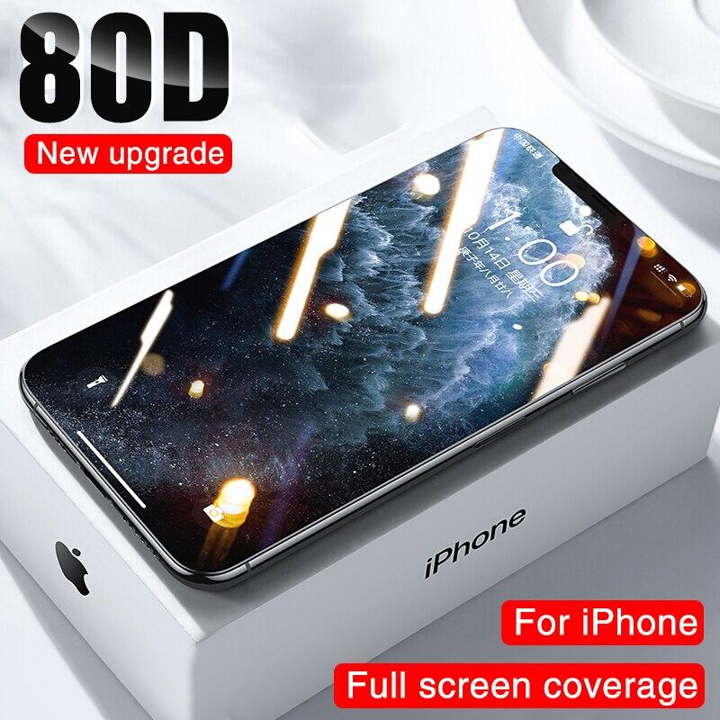 80D полное покрытие закаленное стекло для iphone 11 12 PRO XS MAX X XR защита экрана на iphone 7 8 Plus 6 6s SE Защитная стеклянная пленка