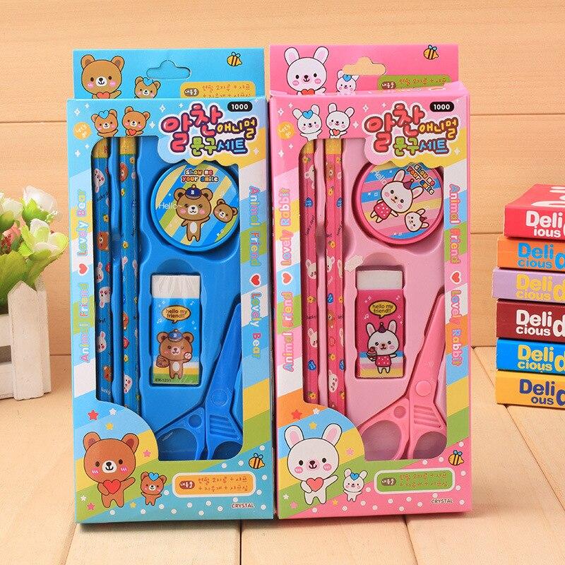 10 Sets Cute Stationery Set Cartoon Pencil Sharpener Eraser Scissors Combination Set Kawaii School Supplies Gift Set for Kids