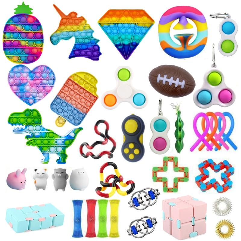 Push Bubble Fidget Toys Anti Stress Set Strings Relief Adults Children Sensory Squishy Antistress Relief Anti Stress Figet