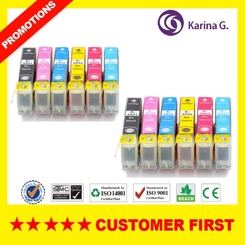 Cartucho de Tinta compatível para T2431 24XL T2431-T2436 Para Epson EXPRESSION FOTO XP-55 XP-750 XP-760 XP-850 XP-860 XP-950 XP-960
