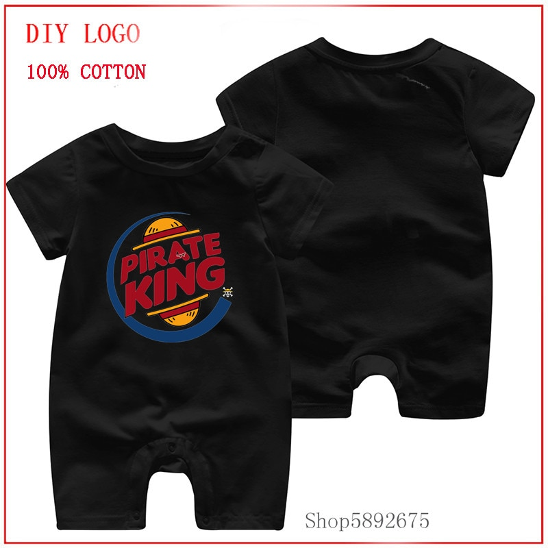 2020 summer baby romper short sleeve rompers Pirate King eventually hamburger king one piece luffy C