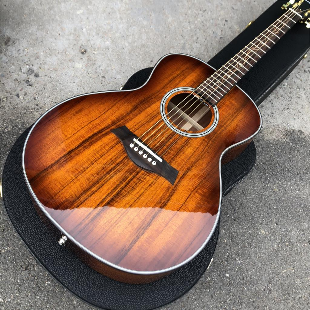 free shipping 38 inch parlor guitar solid wood acoustic guitar flame maple parlor body guitar aaa quality acoustic guitar Top Quality Koa Wood K24 Acoustic Guitar 2019 New 41 Inch Chaylor K24 Koa Acoustic Electric Guitara,Real photos,Free Shipping