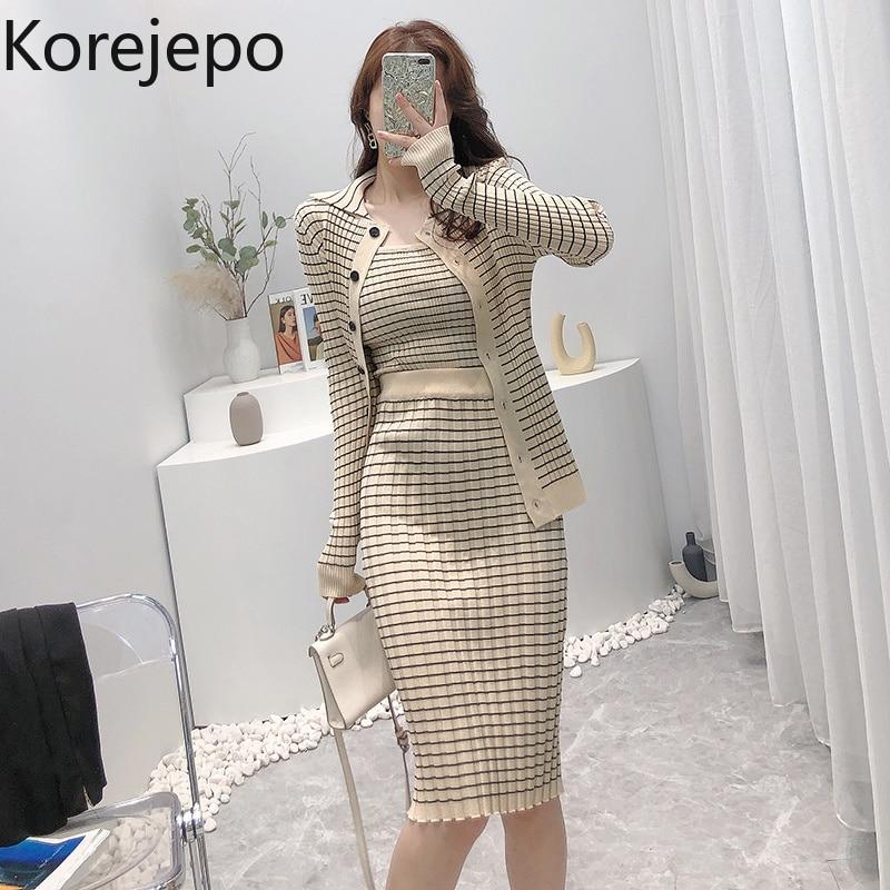 Korejepo النساء 3 قطعة مجموعة 2021 الخريف جديد الكورية نمط مزاجه بدلة على الموضة منقوشة سترة مشغولة من الصوف قاع تنورة بروتيل