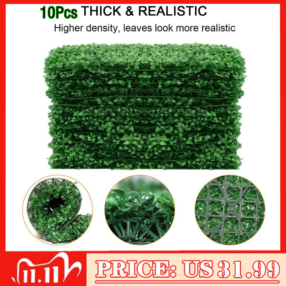 Artificial Boxwood Mat Panel Wall Hedge Decor Fake Fence Outdoor Privacy Screen for Party, Grass
