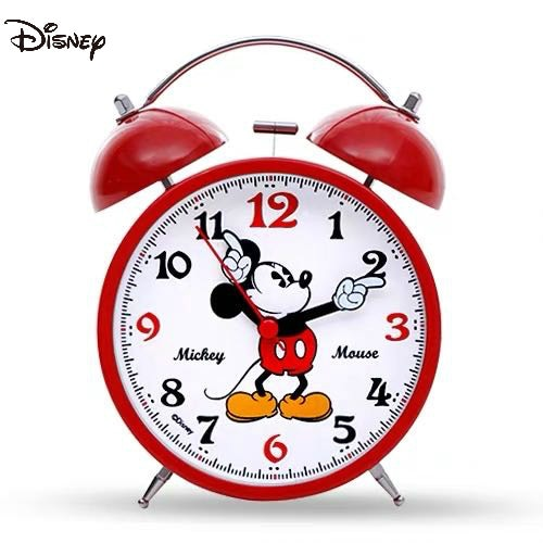 Relógio dos Desenhos Disney Bonito Vermelho Mickey Mouse Animados Bell Metal Estudante Cabeceira Silencioso Despertador