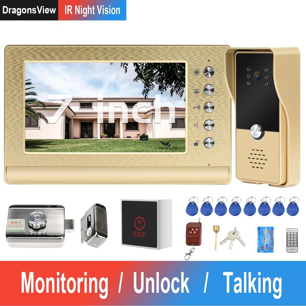Wired Video Intercom with Lock Home Door Intercom Access Control System Kit Video Door Phone 7 Inch