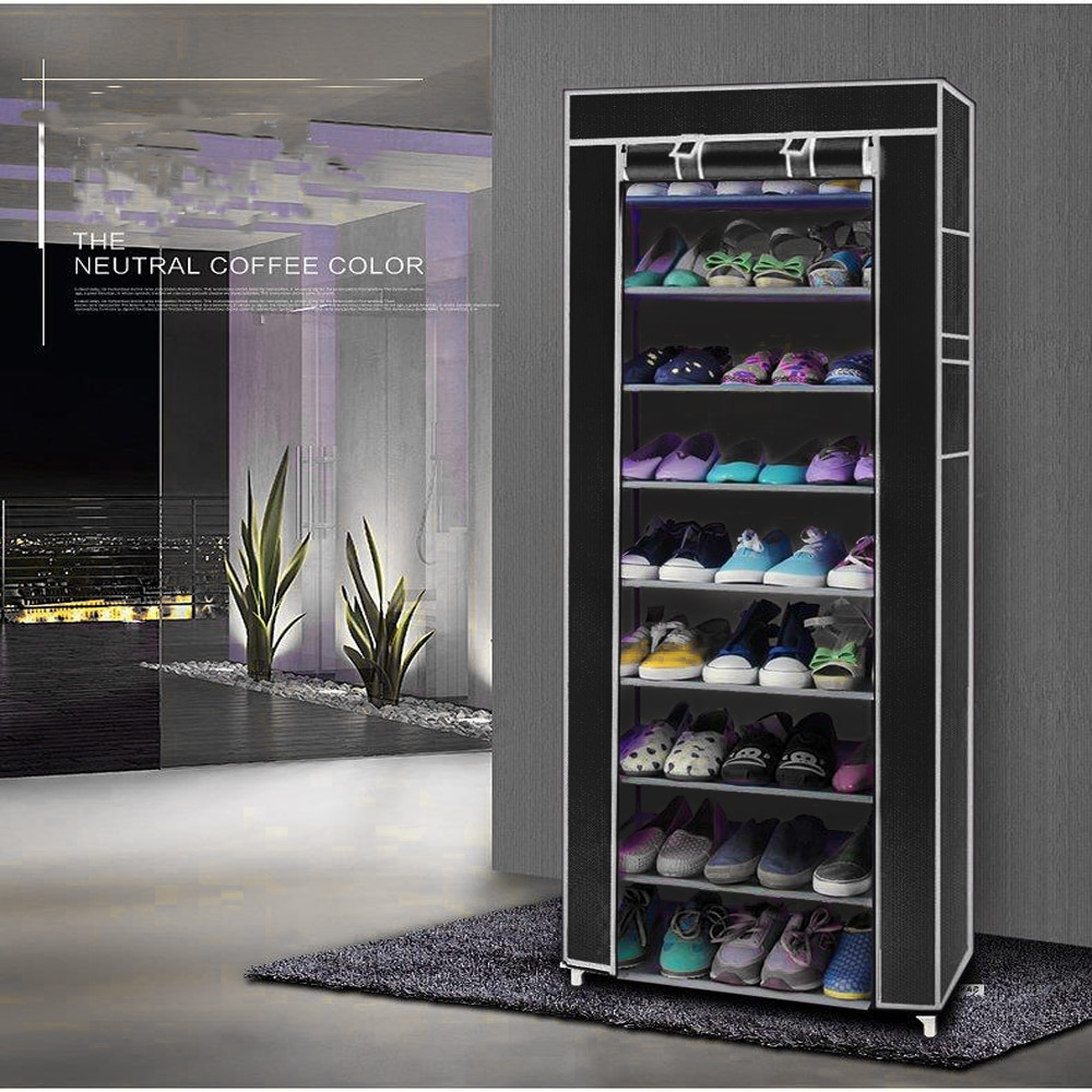 Estante de rejilla para zapatos de 10 capas 9, estante de almacenamiento, armario organizador, armario portátil, almacén de EE. UU., triangulación de envío disponible