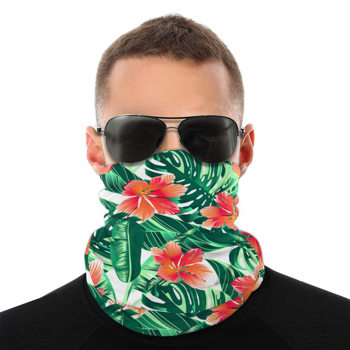 Bufanda Tropical naranja hibisco máscara de media cara cuello polaina flor Paraíso sin costuras Bandanas versatilidad Headwear ciclismo Camping