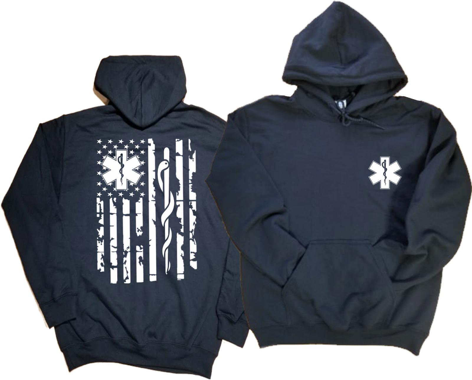 Emt bandeira hoodie com capuz paramédico bandeira moletom presente para ems hoodie
