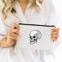 skeleton skull cosmetic bag for makeup organizer mini handbags womens bags storage make up free shipping pouch kawaii woman