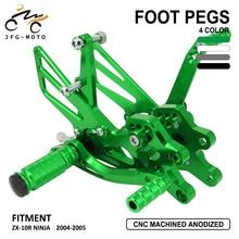 Motorcycle CNC Adjustable Footpeg Foot Pegs Pedal Rest Footrset For KAWASAKI Ninja ZX10R ZX-10R ZX 10R 2004 2005