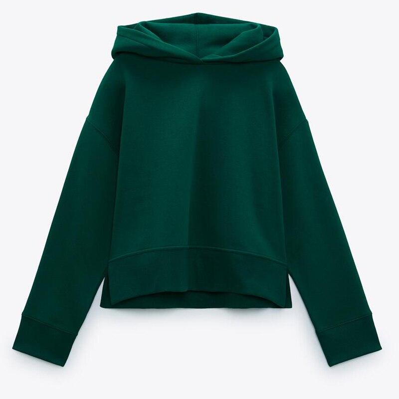 ZAAHONEW جديد ربيع الخريف المرأة بلون الرياضة البلوز كم طويل أربعة ألوان قمصان سويت شيرت بقلنسوة السيدات