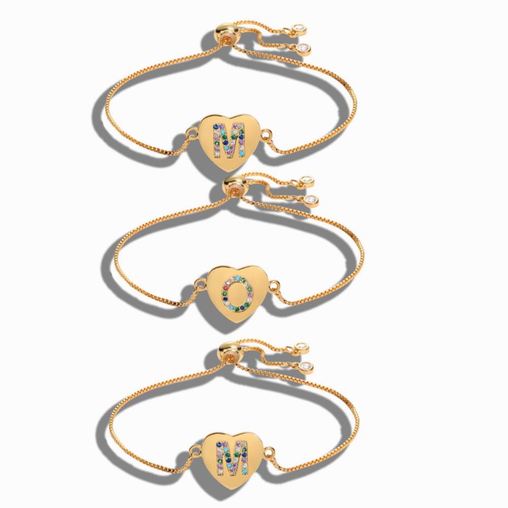 Luxury Cubic Zirconia 26 Alphabet Letter Charm Bracelet Femme Copper Initial Chain Bracelets for Women Jewelry wholesale bulk