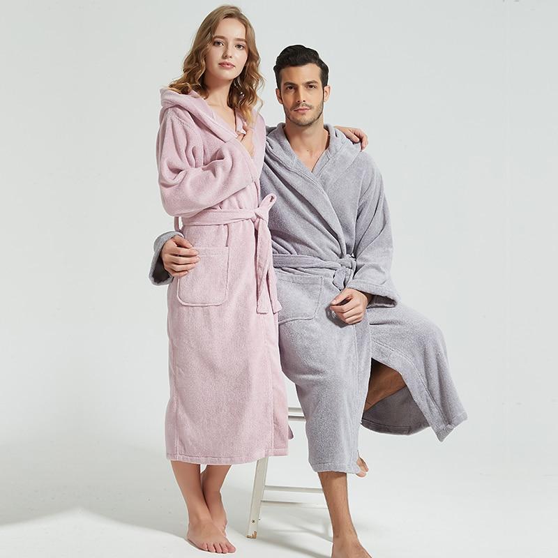 Men Bathrobe Hooded 100% Cotton Thick Warm Towel Fleece Cotton Dressing Gowns Long Bath Robe Hotel Spa Soft Bridesmaid Robe