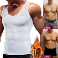 mens chest compression shirt to hide gynecomastia moobs slimming body shaper vest abdomen chest slim shirt corset for men