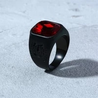 new trendy round red bohemian crystal inlaid ring mens ring fashion metal crystal ring accessories party jewelry