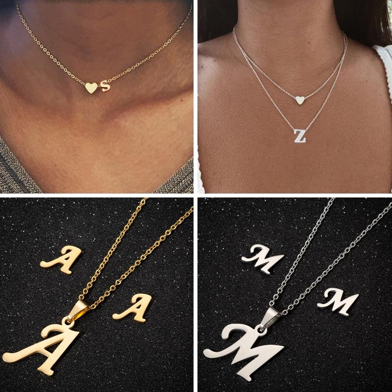 SMJEL A-Z Alphabet Necklace Tiny Heart Initial Necklace for Women Girls Kids Personalize Jewelry 26