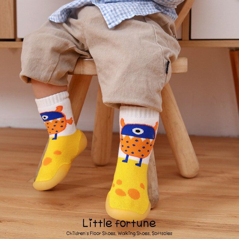 Детский Крытый носки обувь Носки для новорожденных детей; Зимние толстые махровые хлопковые носки для маленьких девочек носки с резиновой ...