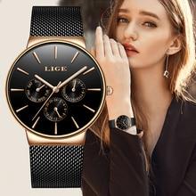LIGE nuevo Vestido Mujer relojes moda Casual oro rosa cuarzo reloj Laides negocios malla acero reloj resistente al agua reloj femenino