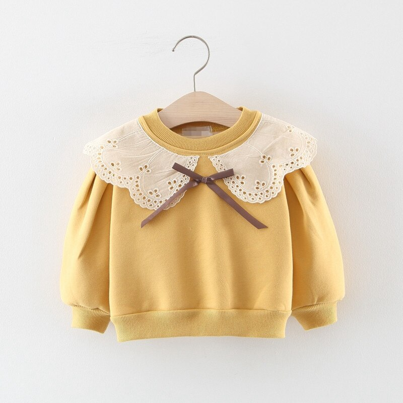 Para venda!! Moda outono vinter crianças bebê crianças meninas manga longa gola de renda algodão veludo camisolas outwear s9312