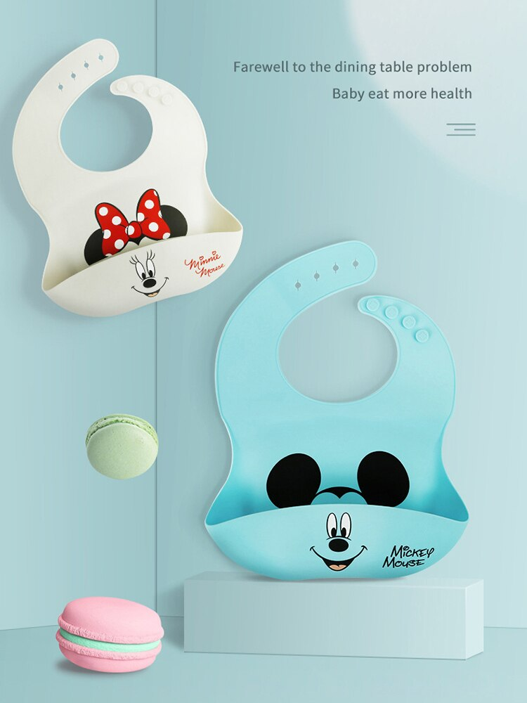 Disney Baby Bibs Food Grade Silica Gel Antifouling Children Adjustable Pocket Waterproof Oilproof Super Soft No Wash Meal Pocket