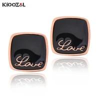 kioozol square love word stainless steel earrings couples earrings wedding accessories 2021 trend 178 ko2