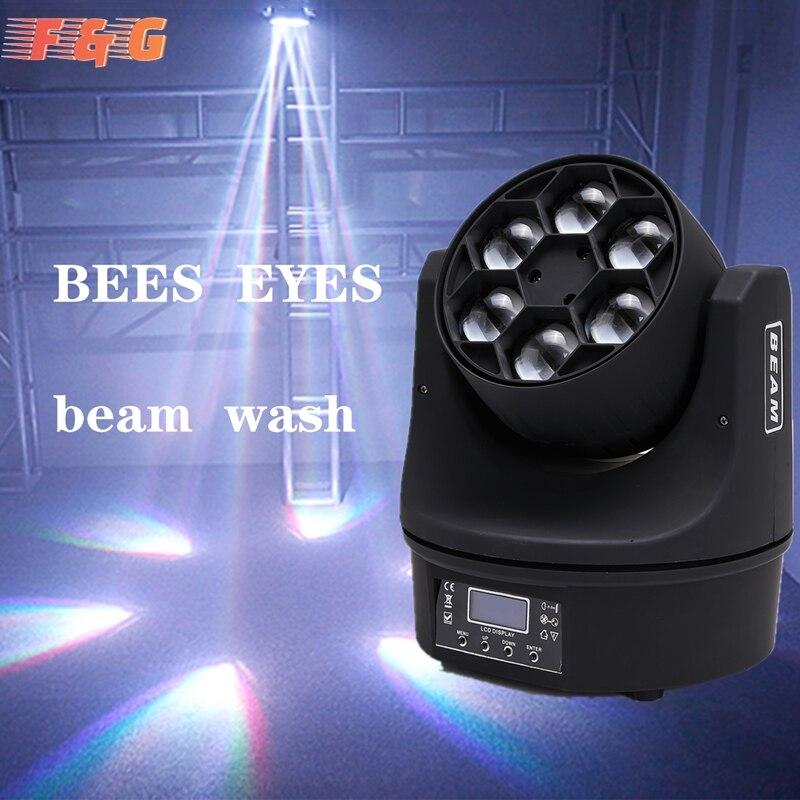 LED شعاع غسل خمسة النحل عيون 6x15 واط RGBW DMX512 المرحلة تأثير الإضاءة ل DJ ديسكو ديكور حفلات الزواج ملهى ليلي وبار