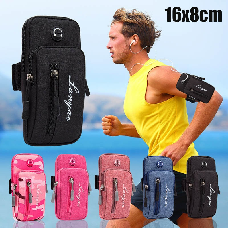 Сумка для бега для мужчин и женщин на руку для телефона, сумка-посылка для занятий спортом на открытом воздухе с отверстием для гарнитуры (...
