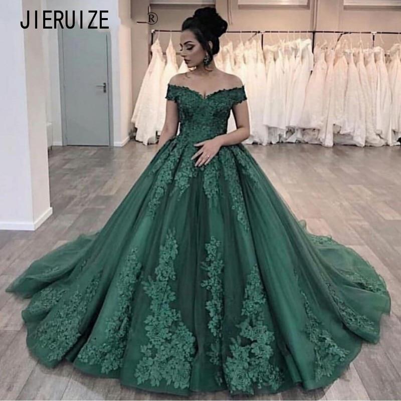 Get JIERUIZE Green Wedding Dresses Off the Shoulder Appliques Ball Gown Bride Dresses Lace Up Back Wedding Gowns Vestidos De Noiva