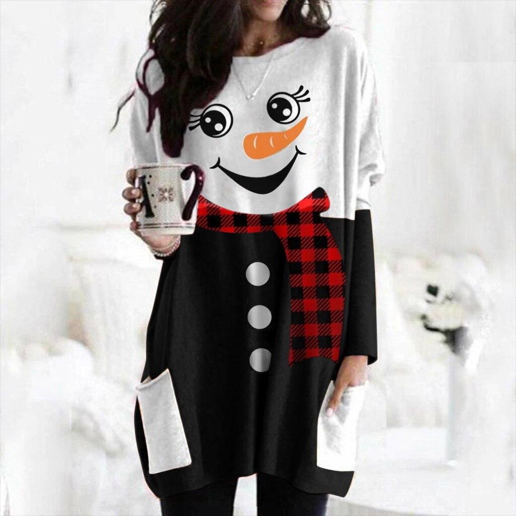 Женская футболка размера плюс принт с рождественским лосем, повседневная женская футболка с длинным рукавом 2020, новый Рождественский Топ д...