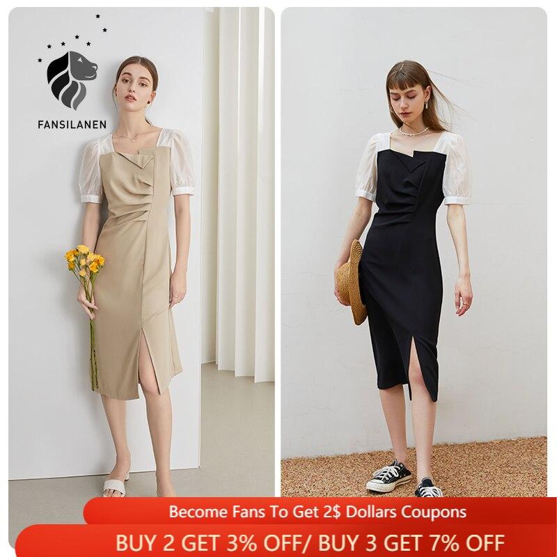 FANSILANEN مكتب سيدة أسود أبيض خياطة فستان 2021 جديد الصيف المرأة ريترو زيبر ساحة الرقبة عالية الخصر فستان أسود