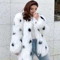 2021 new winter warm fur coat natural fox fur black and white starry woven fur coat real fox fur coat winter thick warm coat