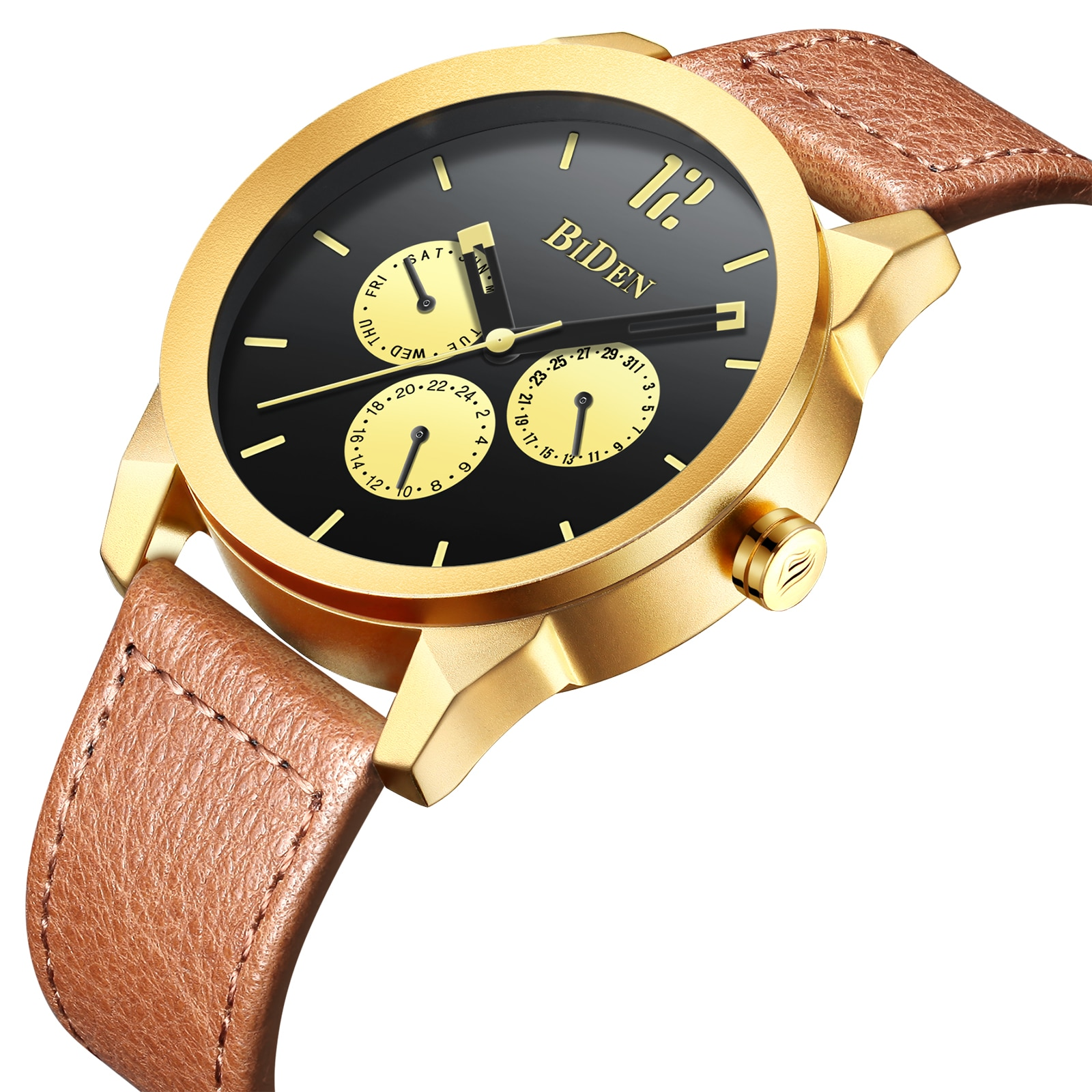 BIDEN Mens Wrist Watch Golden Quartz Male Watches Retro Leather Strap Calendar Week Display Waterproof Relogio Masculino Clock yelang v1021 aviator serier t100 tritium tubes flourescent numbers 100m waterproof leather strap mens quartz wrist watch