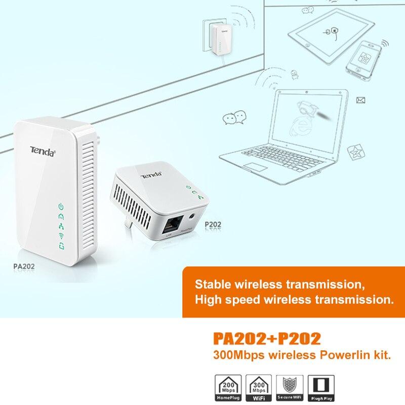 1 par Tenda 300Mbps inalámbrico Powerline adaptador de red Ethernet PLC adaptador de línea de alimentación IPTV homeplug AV Plug & play