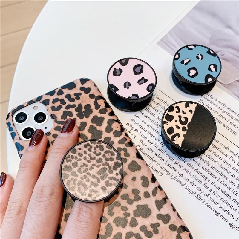 Soporte plegable de leopardo de lujo para teléfono móvil para iphone 11 pro XS Max Pad para Huawei para Samsung Grip contracción capa