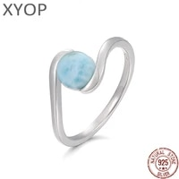 court style 925 sterling silver natural gemstones larimar ring for women geometry design classic simple female jewelry dating