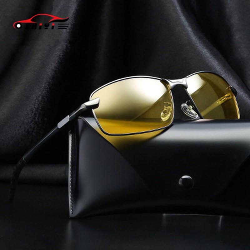 Men Polarized Sunglasses HD Night Vision Glasses For Night Driving Aluminum Magnesium Yellow Lenses