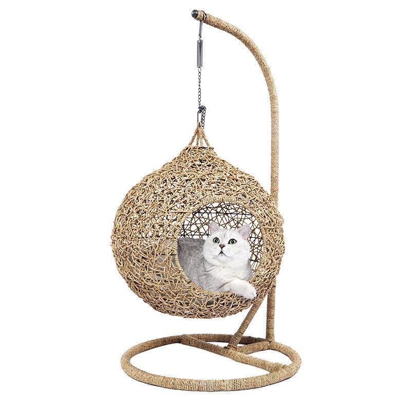 Four seasons rattan cat's nest cat climbing rack cat house t bed pet supplies double deck cat window hammock cat cushion