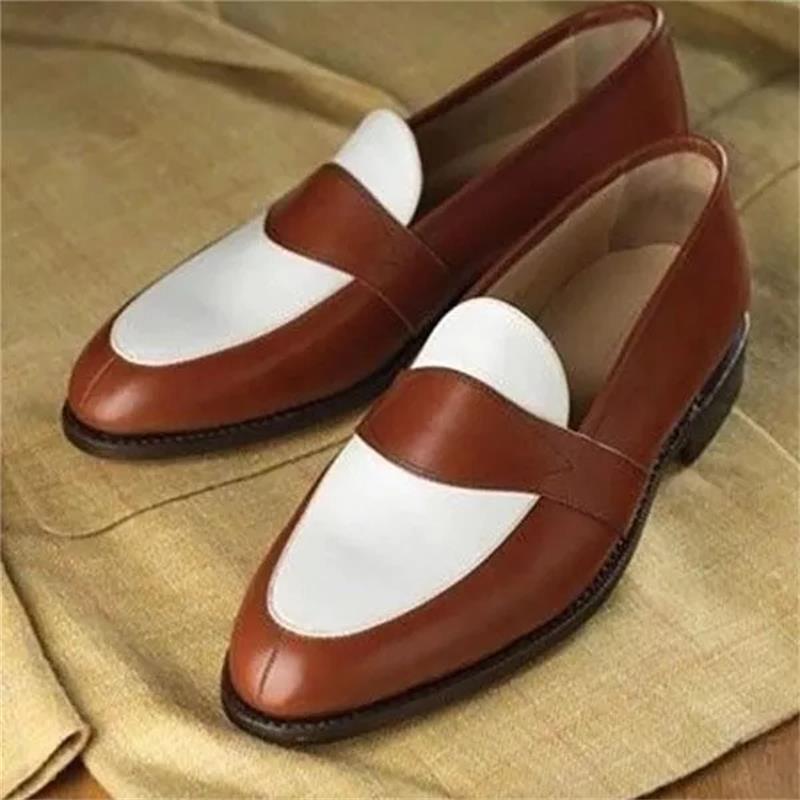 2021 جديد حذاء رجالي موضة عادية الأعمال Gentleman فستان البرية اليدوية اللون مطابقة بولي Stitching خياطة قناع الوجه المتسكعون 3KC491