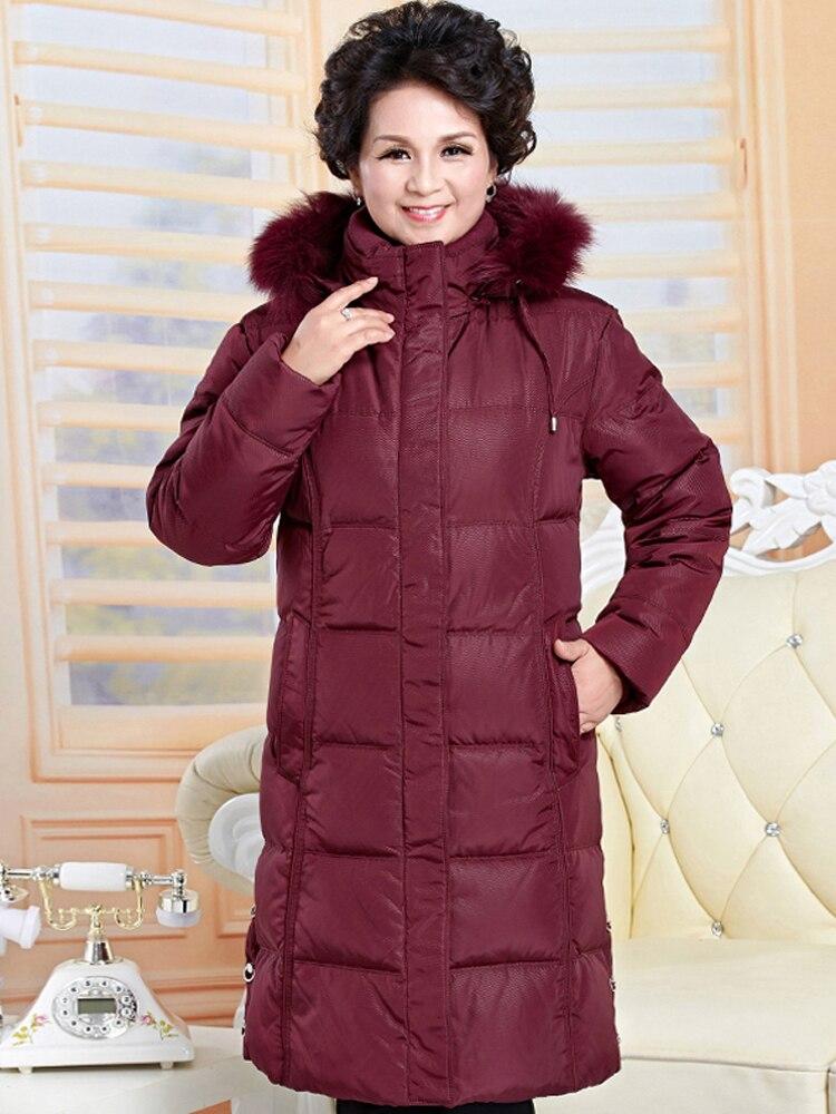 2021 Winter Fashion Women's Duck Down Coat Mother Jacket Thickening With Real Fur Hooded Plus Big Size XXXXXL 2XL 3XL 4XL 5XL
